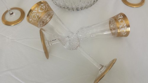 Antiquités - Champagne Bucket with 6 glasses in crystal St - Louis Thistle gold model