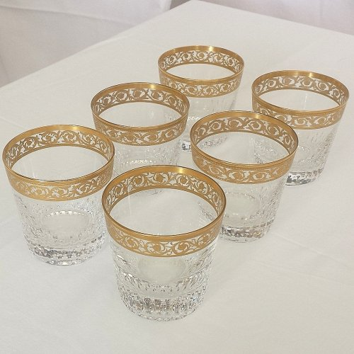 6 Gold regular Old fashion in crystal St-Louis - Thistle gold