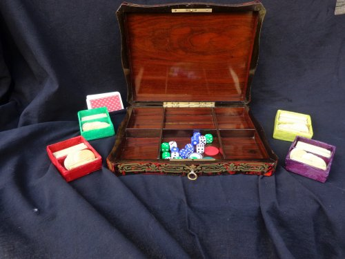 Antiquités - Games Box Boulle marquetry 19th  Napoleon III Period