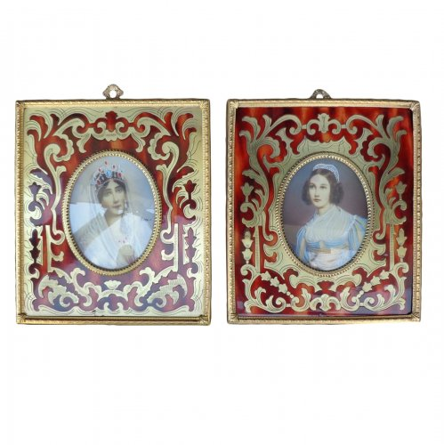 Pair of Paint in Boulle marquetry Napoléon III period 19th