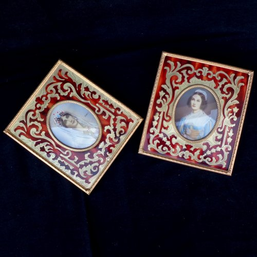 Pair of Paint in Boulle marquetry Napoléon III period 19th - Napoléon III