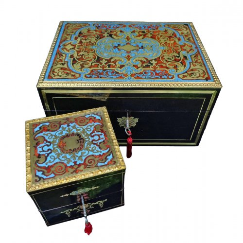 Set ofBoulle marquetry turquoise boxes Napoléon III period 19th century