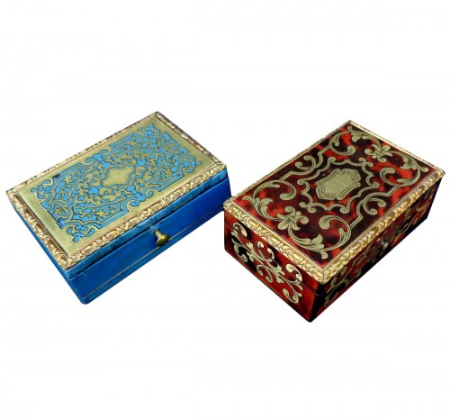 Set of Boulle marquetry and  turquoise boxes stamped TAHAN