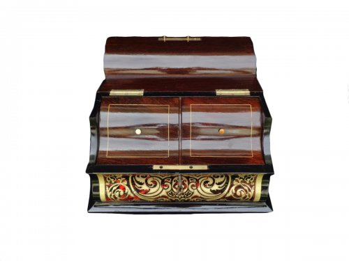 Musical Tea Box In Boulle Style Marquetry Of Napoleon III Period