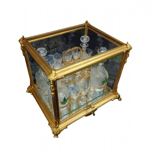 French 19th century glass and bronze Cave a liqueur