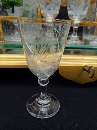Antiquités - French 19th century glass and bronze Cave a liqueur