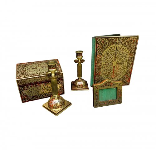 19th century Desk set in Boulle style marquetry