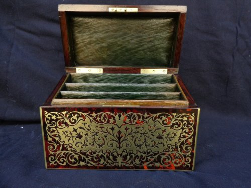 Decorative Objects  - 19th century Desk set in Boulle style marquetry