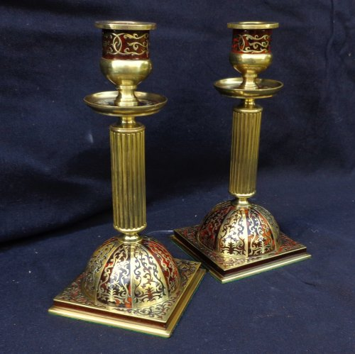19th century - 19th century Desk set in Boulle style marquetry