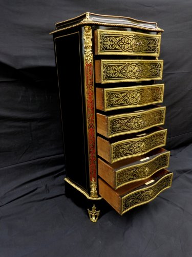 Furniture  - 19th century Semainier in Boulle  style marquetry