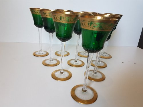20th century -  Roemer Glasses in crystal of St-Louis - Thistle gold