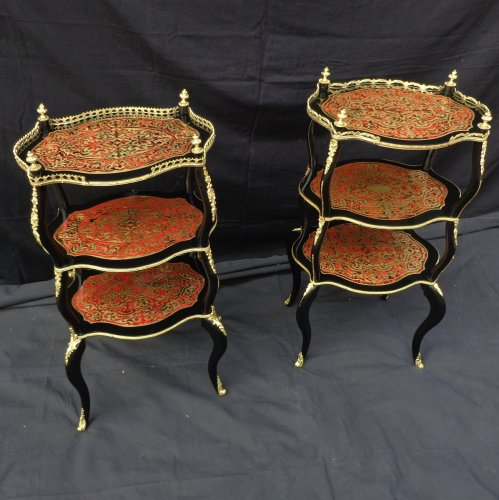 Pair of Small tables in Boulle marquetry 19th  Napoleon III period