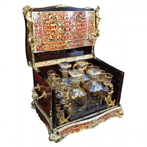 A late 19th century Boulle style tantalus Box