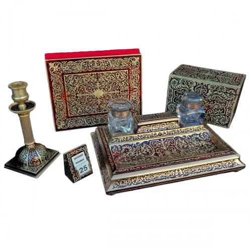 An english Boulle style Desk set, late 19th century