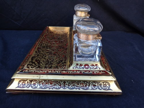 An english Boulle style Desk set, late 19th century -