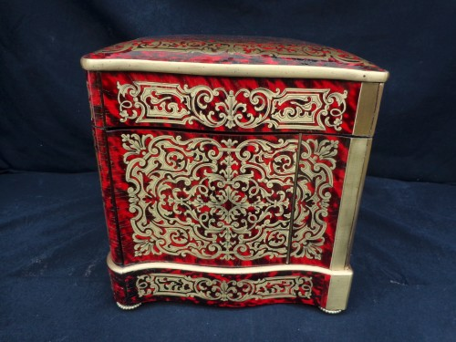 Boulle style marquetry Napoleon III Cave a liqueur Stamped Th Année  - Napoléon III