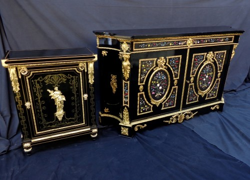 19th century - Cabinet with Pietra Dura Boulle style marquetry