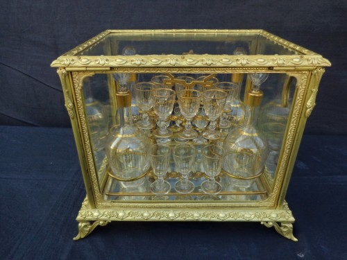 19th century -  Glass Tantalus Box in Bronze Napoleon III period 19th