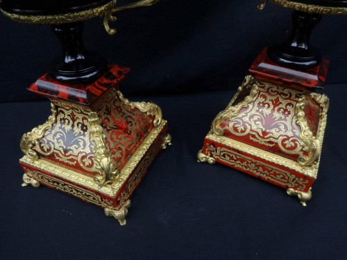 Decorative Objects  - Pair of Cups in Boulle style marquetry Napoléon III period
