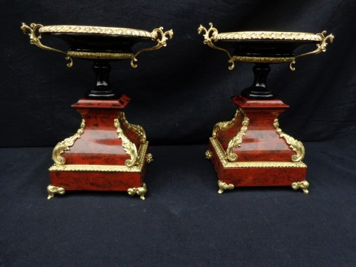 Pair of Cups in Boulle style marquetry Napoléon III period -