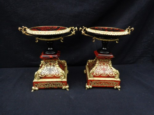 19th century - Pair of Cups in Boulle style marquetry Napoléon III period
