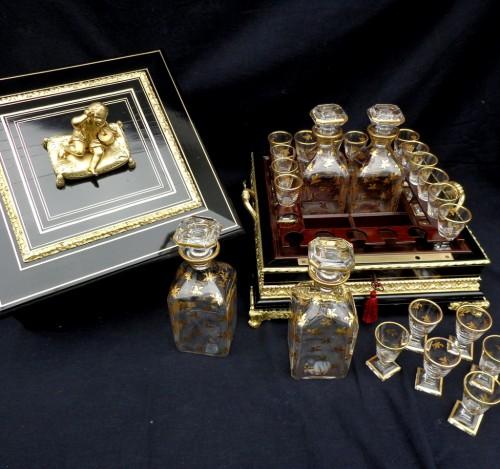 Napoléon III - Tantalus Box in Boulle style marquetry Napoleon III period 19th