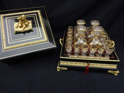 Antiquités - Tantalus Box in Boulle style marquetry Napoleon III period 19th