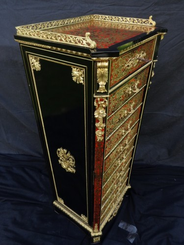 Napoléon III - stamped CHARON Furniture with 10 drawers in Boulle marquetry 19th