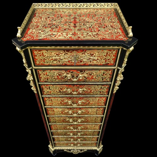 Antiquités - stamped CHARON Furniture with 10 drawers in Boulle marquetry 19th