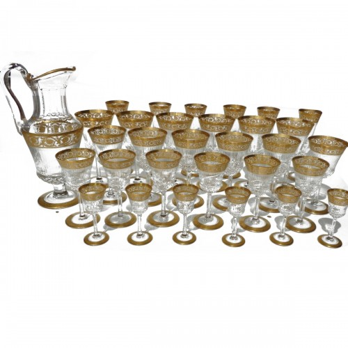 Set Crystal 30 glasses and 1 decanter in Saint Louis Thistle Gold model