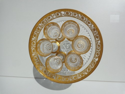 Footed Bowl in crystal St Louis Thistle gold model - Glass & Crystal Style Art nouveau