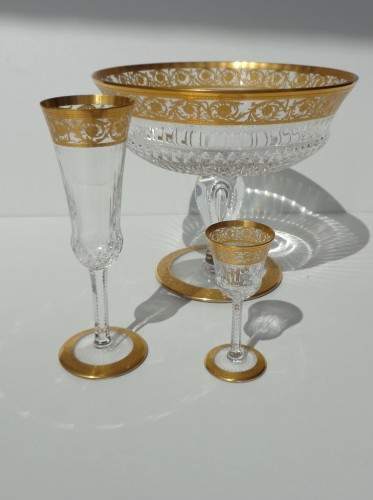 Glass & Crystal  - Footed Bowl in crystal St Louis Thistle gold model