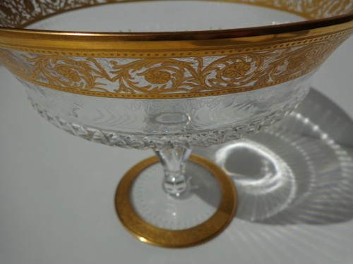 20th century - Footed Bowl in crystal St Louis Thistle gold model