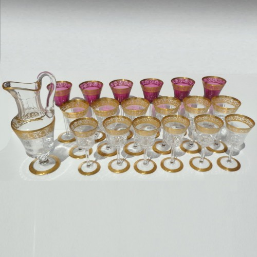 Glasses and decanter in crystal St - Louis Thistle gold - Glass & Crystal Style Art nouveau