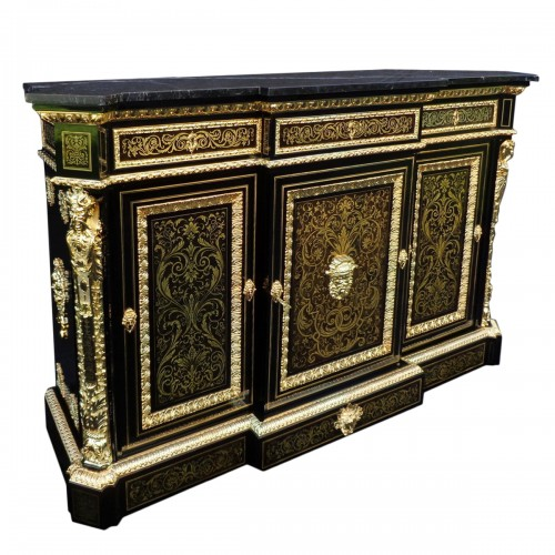 French Boulle style credenza Stamped L. Winterniiz