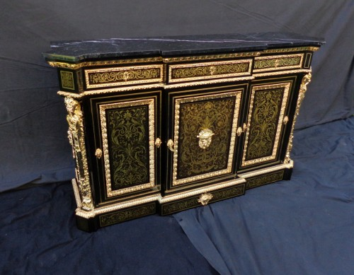 French Boulle style credenza Stamped L. Winterniiz - Furniture Style Napoléon III