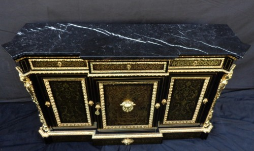 Antiquités - French Boulle style credenza Stamped L. Winterniiz