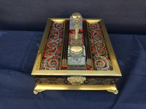 nkwell brass and tin marquetry Boulle with crystal inkwell - Decorative Objects Style Napoléon III