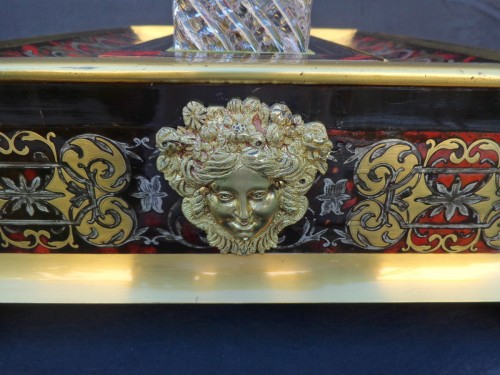 Decorative Objects  - nkwell brass and tin marquetry Boulle with crystal inkwell