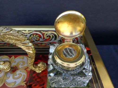 nkwell brass and tin marquetry Boulle with crystal inkwell -