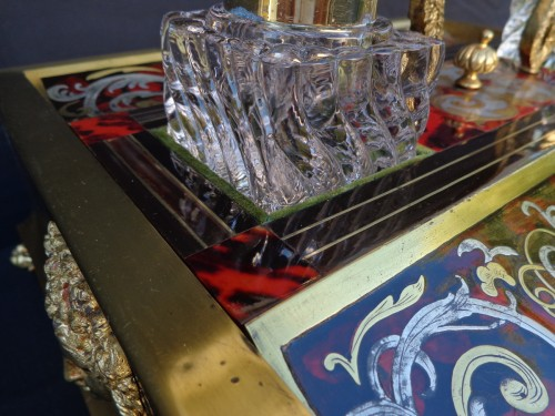 nkwell brass and tin marquetry Boulle with crystal inkwell - Napoléon III