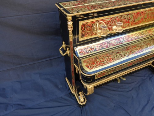 Piano Stamped JUVENOIS in marquetry Boulle 19th Napoléon III period - Furniture Style Napoléon III