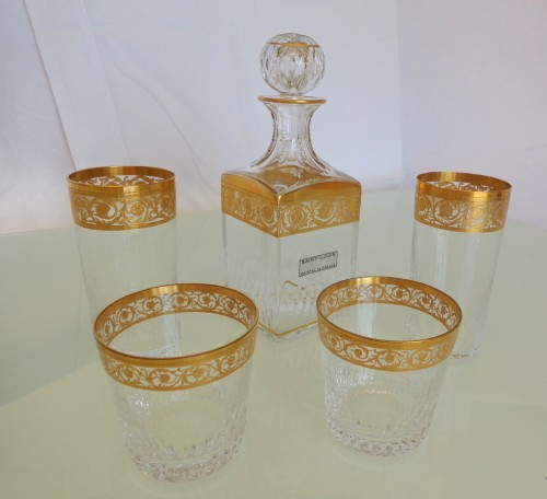 Whisky set in crystal St-Louis - Thistle gold