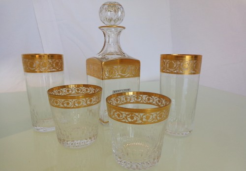 Art nouveau - Whisky set in crystal St-Louis - Thistle gold