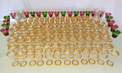 120 glasses, 2 decanters in crystal St - Louis Thistle gold