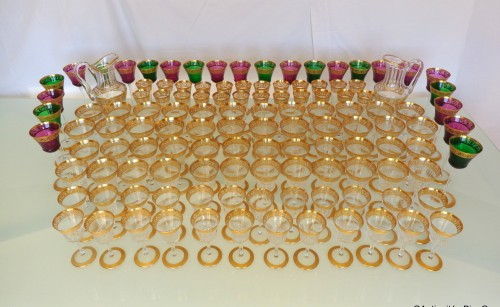 Glass & Crystal  - 120 glasses, 2 decanters in crystal St - Louis Thistle gold