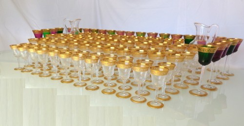 120 glasses, 2 decanters in crystal St - Louis Thistle gold -