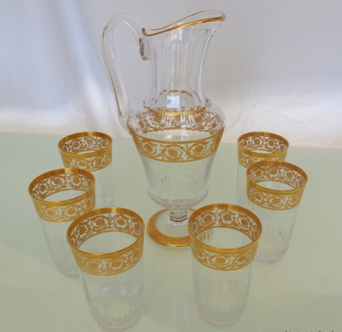 6 large Highballs and Water Jug in crystal St - Louis Thistle gold