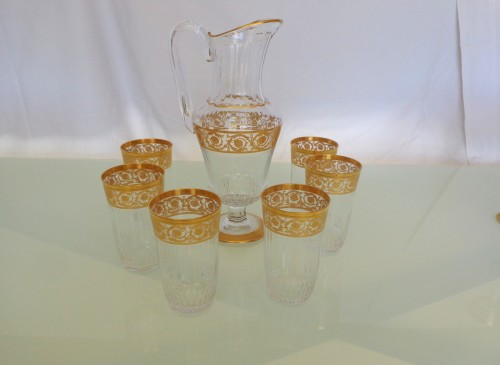 6 large Highballs and Water Jug in crystal St - Louis Thistle gold -