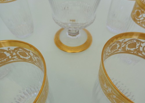 Art nouveau - 6 large Highballs and Water Jug in crystal St - Louis Thistle gold